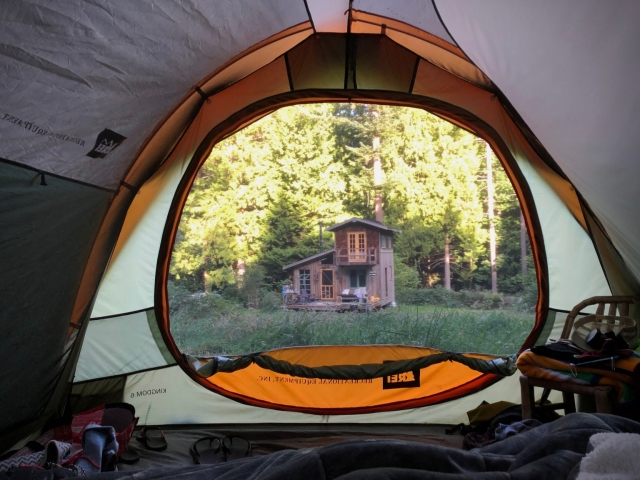 view of cabin from tent